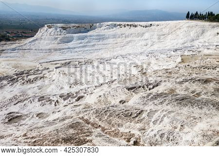 Panorama Of Travertine Terraces Of Pamukkale, Turkey. Structures Created During Centuries By Water F