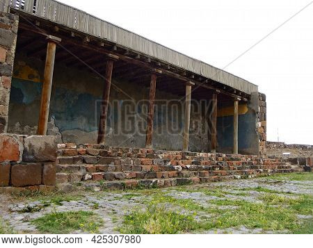 Portico With The Columns Near The Main Entrance Into The Ancient Urartian Fortress Erebuni, One Of T
