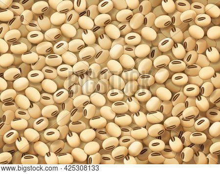 Soy Beans Background. Healthy Nutrition, Organic Vegetables Farm Legumes Fresh Harvest And Vegetaria
