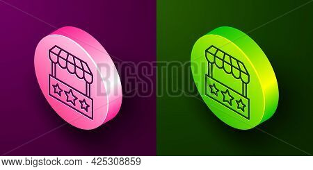 Isometric Line Ticket Box Office Icon Isolated On Purple And Green Background. Ticket Booth For The