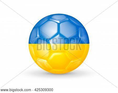 3d Soccer Ball With The Ukraine National Flag. Ukrainian National Football Team Concept. Isolated On