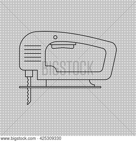 Electric Wood Jig Saw. Carpentry Jigsaw. Power Tool. Transparent Linear Outline Vector Drawing On Wh