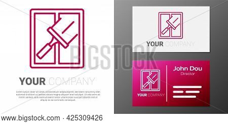 Logotype Line Cleaning Service With Of Rubber Cleaner For Windows Icon Isolated On White Background.