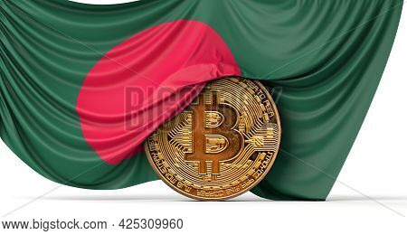 Bangladesh Flag Draped Over A Bitcoin Cryptocurrency Coin. 3d Rendering