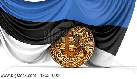 Estonia Flag Draped Over A Bitcoin Cryptocurrency Coin. 3d Rendering