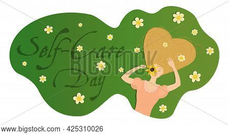 Vector Illustration Banner With A Girl Lying On A Field Of Chamomiles With Her Heir Forming A Heart.