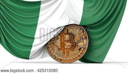 Nigeria Flag Draped Over A Bitcoin Cryptocurrency Coin. 3d Rendering