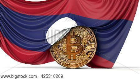 Laos Flag Draped Over A Bitcoin Cryptocurrency Coin. 3d Rendering