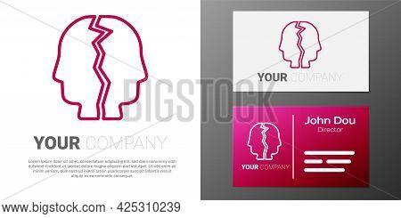 Logotype Line Bipolar Disorder Icon Isolated On White Background. Logo Design Template Element. Vect