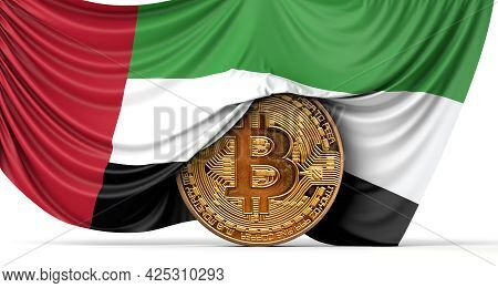 Uae Flag Draped Over A Bitcoin Cryptocurrency Coin. 3d Rendering