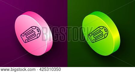Isometric Line Skateboard Deck Icon Isolated On Purple And Green Background. Extreme Sport. Sport Eq
