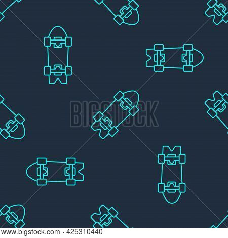 Green Line Longboard Or Skateboard Cruiser Icon Isolated Seamless Pattern On Blue Background. Extrem