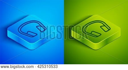 Isometric Line Headphones Icon Isolated On Blue And Green Background. Earphones. Concept For Listeni