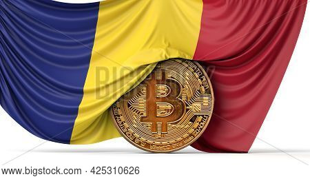 Romania Flag Draped Over A Bitcoin Cryptocurrency Coin. 3d Rendering