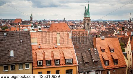Nuremberg in Germany.  Panoramic view of historical Old Town. Cityscape