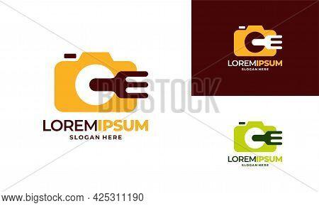 Food Vlog Logo Designs Concept Vector, Food Photography Logo Template Illustration