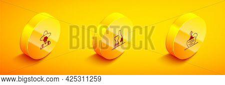 Set Isometric Farmer In The Hat, Bottle Of Wine And Wine Italian Fiasco Bottle Icon. Vector