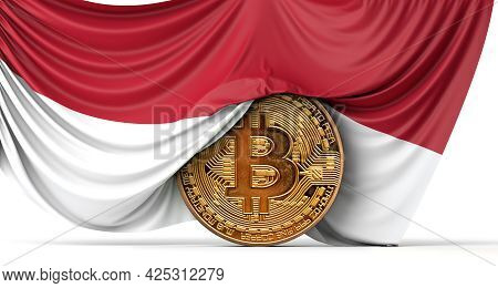 Indonesia Flag Draped Over A Bitcoin Cryptocurrency Coin. 3d Rendering