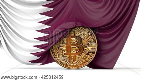 Qatar Flag Draped Over A Bitcoin Cryptocurrency Coin. 3d Rendering