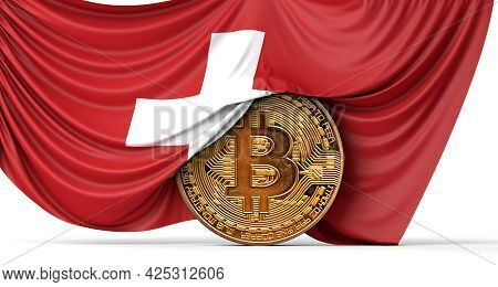 Switzerland Flag Draped Over A Bitcoin Cryptocurrency Coin. 3d Rendering