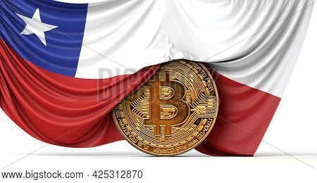 Chile Flag Draped Over A Bitcoin Cryptocurrency Coin. 3d Rendering