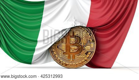 Italy Flag Draped Over A Bitcoin Cryptocurrency Coin. 3d Rendering