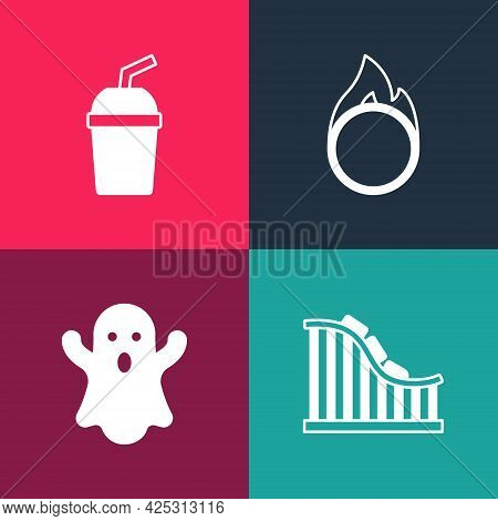 Set Pop Art Roller Coaster, Ghost, Circus Fire Hoop And Paper Glass With Water Icon. Vector