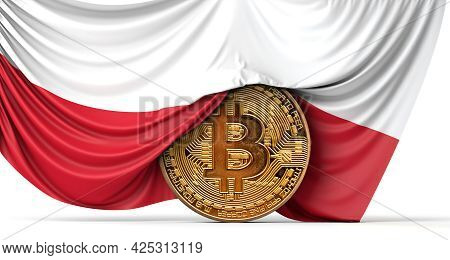 Poland Flag Draped Over A Bitcoin Cryptocurrency Coin. 3d Rendering