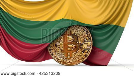 Lithuania Flag Draped Over A Bitcoin Cryptocurrency Coin. 3d Rendering