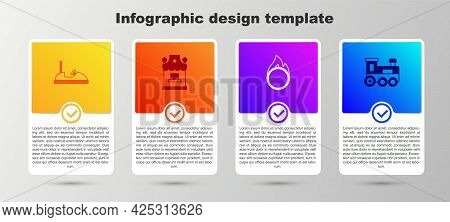 Set Bumper Car, Ticket Box Office, Circus Fire Hoop And Toy Train. Business Infographic Template. Ve