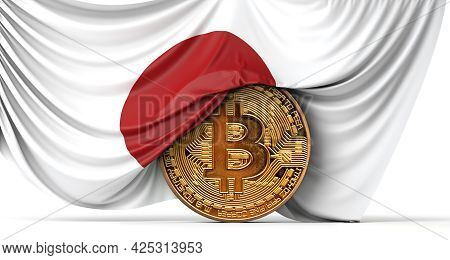 Japan Flag Draped Over A Bitcoin Cryptocurrency Coin. 3d Rendering