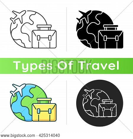 Business Travel Icon. Fly Abroad For Work Meeting. International Journey. Corporate Trip To Foreign