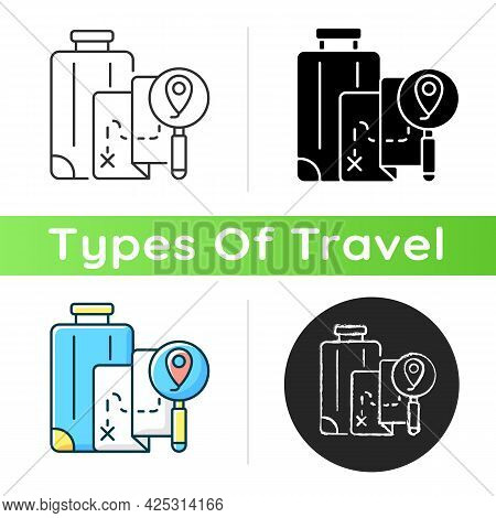 Diy Travel Icon. Plan Trip Destination For Vacation Journey. Traveller Suitcase And Map With Gps Poi