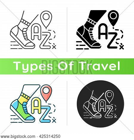 Alphatourism Icon. Leisure Activity And Lifestyle. Traveller Journey. Route For Exercising And Joggi