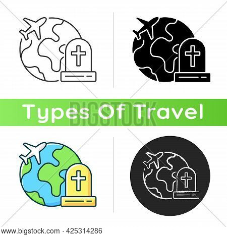 Tombstone Tourism Icon. Cemetery Exploration Enthusiast Traveller. Fly Abroad For Funeral. Travel In