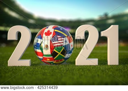 2021 with Soccer Football ball and flags of North America countries on  grass of football stadium. North America concacaf championship 2021. 3d illustration