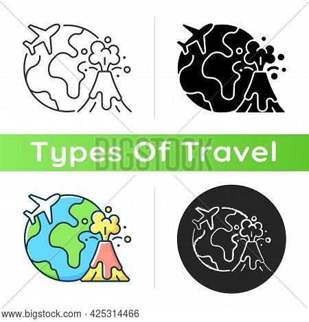 Disaster Travel Icon. Extreme Journey For Adrenaline. Volcano Eruption Exploration. Visit Foreign Co