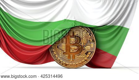 Bulgaria Flag Draped Over A Bitcoin Cryptocurrency Coin. 3d Rendering