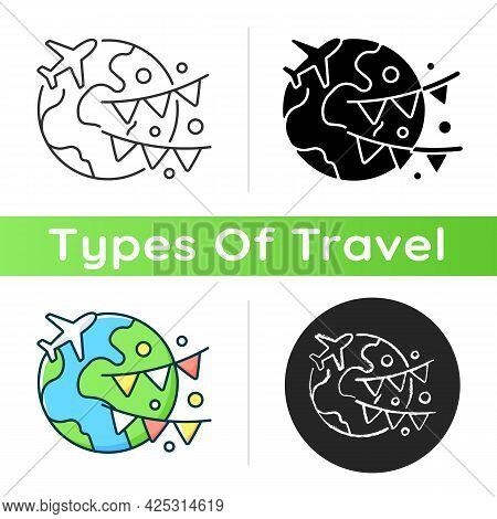 Event Travel Icon. International Holiday Trip. Recreational Weekend Getaway To Foreign Country. Tour