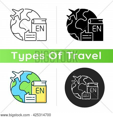 Travel To Teach English Icon. Study Abroad. Student Exchange. International Educational Program. Tou