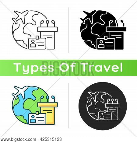 Mice Tourism Icon. Business Trip. International Flight For Professional Meeting. Global Journey For