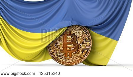 Ukraine Flag Draped Over A Bitcoin Cryptocurrency Coin. 3d Rendering