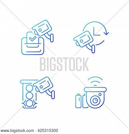 Surveillance System Gradient Linear Vector Icons Set. Electoral Fraud Prevention. 24 Hour Monitoring