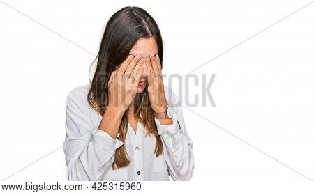 Young beautiful woman wearing casual clothes rubbing eyes for fatigue and headache, sleepy and tired expression. vision problem