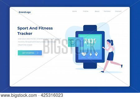 Sport And Fitness Tracker Illustration Landing Page Concept