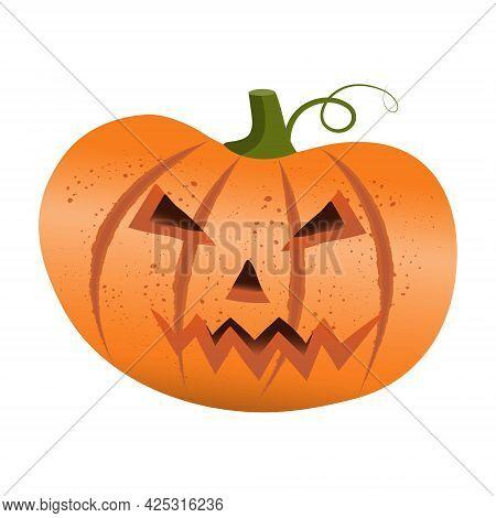 Yellow Halloween Pumpkin Lantern Isolated In Vintage Style On White Background. Halloween Pumpkin Ic