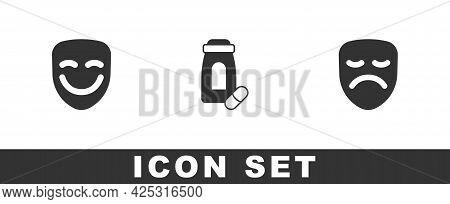 Set Comedy Theatrical Mask, Sedative Pills And Drama Icon. Vector