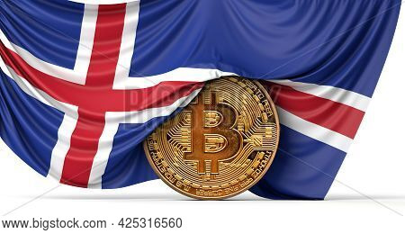 Iceland Flag Draped Over A Bitcoin Cryptocurrency Coin. 3d Rendering