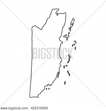 Outline Map Of Belize White Background. Vector Map With Contour.