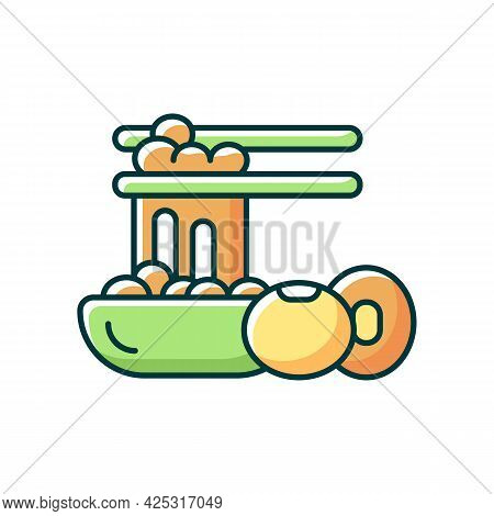 Natto Rgb Color Icon. Isolated Vector Illustration. Traditional Sticky Meals Preparing. Fermented So